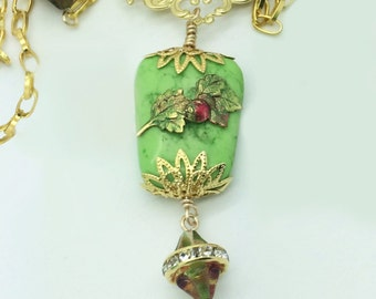 Strawberry of my Eye, Handcrafted Necklace with Strawberry Theme Motif ~ Rhinestones, Filigree, Granny Apple Green Turquoise, Beautiful!
