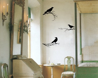 Crows Bird, Branch Wall Decor, Vinyl Wall Decal, Home Decor, Bird Decals, Nature Wall Decals, Crows Silhouette, Black Wall Decals ID703 [p]