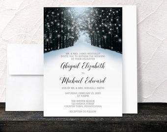 Winter Tree Lights Wedding Invitations - Snowy Road - Blue Black Grey - Printed Invitations