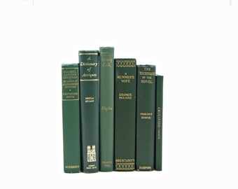 Antique Green Books, Book Stack, Decorative Books, Old Book Set, Instant Library, Vintage Book Collection, Beach Home Decor, Interior Design