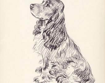 Antique Dog Print, 1930s Lucy Dawson Spaniel Print, Home Wall Decor, Interior Design, Art Illustration to Frame plate, black white brown B-1