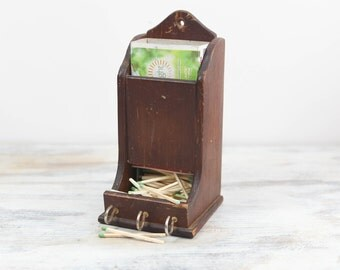 Vintage Wooden wall mount box for wooden matches / trinkets