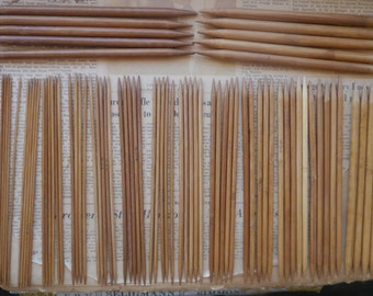 15 Pairs (5 needles of each size) 20cm Bamboo Double Pointed Knitting Needles ALL US Sizes  (US Size 0 - 15)