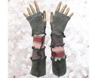 Gray Arm Warmers, Upcycled Clothing, Gray Fingerless Gloves, Upcycled Arm Warmers, OOAK Arm Warmers,  Handmade Arm Warmers, Gift for Her