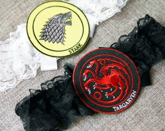 Game of Thrones Wedding Garter Bridal Garters - Great Houses of Westeros Stark Targaryen Garter Belt - Geek Nerd Garter Set