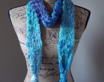 Blue Skinny Scarf, cotton knit summer scarf, boho spring summer knit, ombre blue cotton scarf, skinny knit neck wrap, blue white knit
