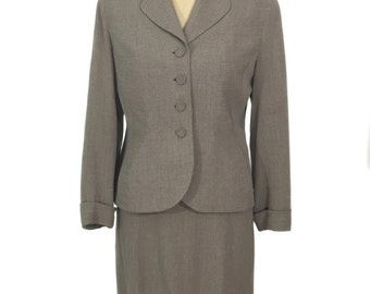 vintage 1940s striped skirt suit / David Crystal's Lady Northcool / taupe white / pinstripe / 40's suit / women's vintage suit / size large