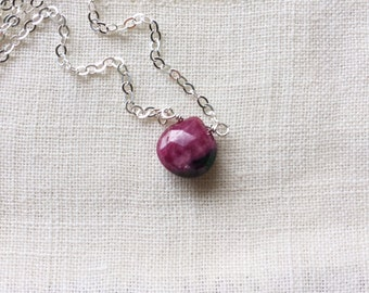 Ruby Zoisite Necklace, Miscarriage Jewelry, Fertility Necklace, Pregnancy Jewelry, Healing Stone Necklace, Layering Necklace, Gift for Her