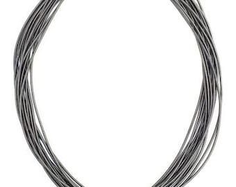 Slate Piano Wire Necklace with  geode stone