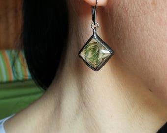 Moss Earrings, Sterling Silver, Silver earrings, Green earrings, terrarium earrings, terarium jewelry, herbarium earrings,bridesmaid vintage