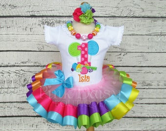 Candyland Birthday Outfit - Sweet Shoppe - Rainbow Ribbon Tutu Set - First Birthday Dress - Candy Shop - Candy Land - Personalized Shirt