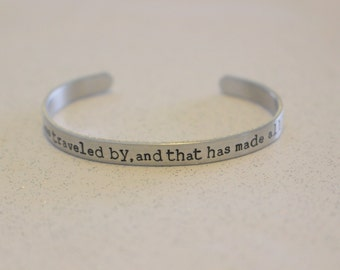 The Road Not Taken Poem, Robert Frost Hand Stamped Copper Cuff Bracelet, Graduation Gift