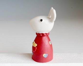Handmade Ceramic Sculpture. White Rabbit Sculpture, White Bunny Figure, Handmade Rabbit Pottery, Stoneware