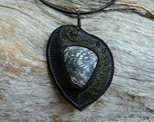 Fossilised Fern Tree Recycled Leather Pendant Necklace Eco Friendly Jewelry by Ariom Designs