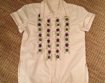 Vintage kids Mexican embroidered top, kids boho shirt, girls hippie shirt, embroidered top Size 7/8
