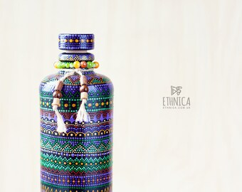 Hand painted ceramic bottle, african art. For home and kitchen decor, gift for men or gift for women.