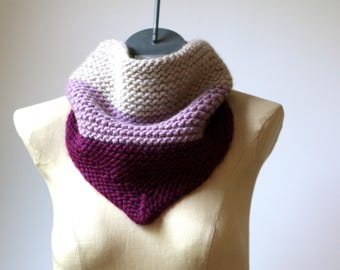 Ready to Ship Striped Bandana Scarf - Hand Knit Bandana Cowl - Wool Bandana - Triangle Scarf - Infinity Scarf - Neck Warmer - Women Scarf
