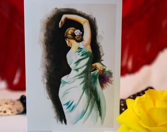 Flamenco painting greeting card, flamenco watercolor painting, flamenco watercolor, flamenco art