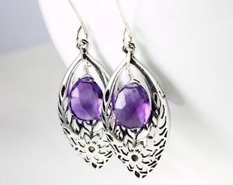 Amethyst Earrings, Sterling Silver, filigree frame, purple gemstone, fine statement earrings, holiday gift for her, February birthstone