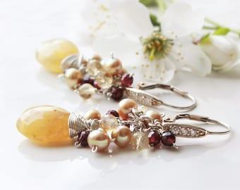 Heliodor Earrings, Sterling Silver wire wrap, yellow gemstone cluster earrings, citrine, garnet, freshwater pearls, mother's day gift