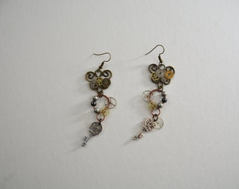 Heart Key Steampunk Gear Earrings