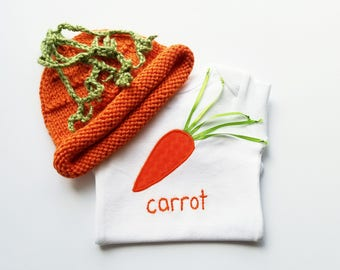 HAND EMBROIDERED Carrot Gift Set - Baby Gift Set - Hand Knit Carrot Hat Carrot Bodysuit / Carrot Onesie - Baby Girl or Baby Boy