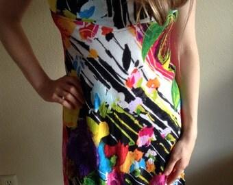 Jam's World, Vintage Tropical, Dress, Splatter Paint, Rayon, Mini, Sun Dress, Resort Wear, Extra Small