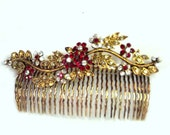 Retro Hair Comb - Vintage Comb - Victorian Revival Accessory - Crystal Hair Comb - Hair Jewelry - Wedding Hair Comb - Floral Hair Jewelry