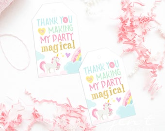 Unicorn Favor Tags - Rainbow Favor Tags - Donut Favor Tags - Donut Stop Believin'