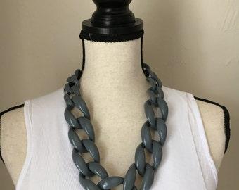 Skinny Link Necklace Gray