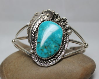 Navajo Turquoise and Sterling Silver Leaf Motif Cuff Bracelet