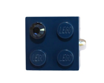Navy Blue LEGO (R) brick 2x2 with a Blue SWAROVSKI crystal on a Silver/Gold plated adjustable ring finding