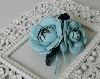 Blue/Brown Leather Camellia Flower Brooch/Hair Clip