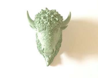 LITE Green Grey SMALL Bison Head wall mount Faux Taxidermy buffalo animal head wall hanging / kids room decor / office / faux taxidermie