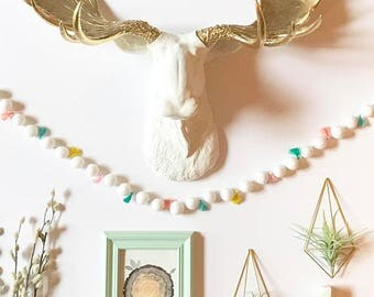 Faux Taxidermy Moose Animal Head Wall mount hanging  faux taxidermie fake moose faux animal head mounted moose in WHITE w/ GOLD antlers