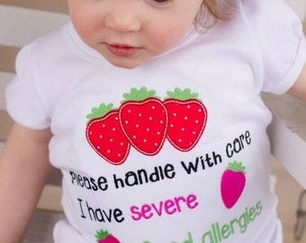 Food allergy shirt- Allergies Awareness Shirt- Strawberry Allergy Warning shirt- Nut Allergy Shirt- Girl's Allergy Shirt- Severe Food shirt