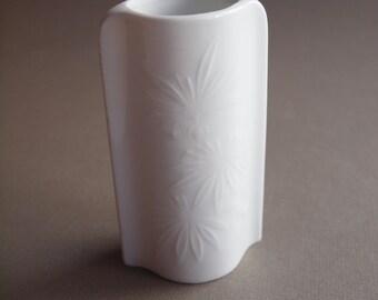 KPM all - white floral vase white floral relief vase Royal Porzellan Bavaria vintage 60s 70s German porcelain vase modern home gift for her