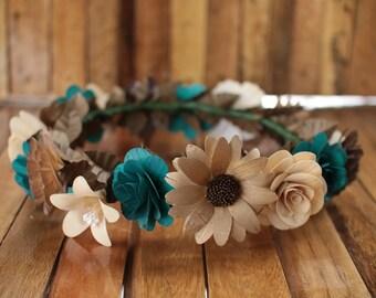 Teal, Copper, Brown  Flower Crown, Boho Crown, Wedding Crown, Flower Girl Crown, Birthday Crown, Paper Headdress, Wooden Flowers Crown