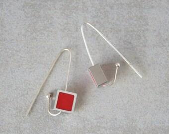 Long silver earrings, Red earrings, Polymer clay earrings, Hook earrings, Geometric earrings, Square earrings, Handmade earrings