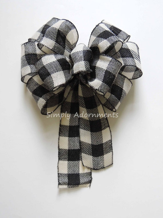 Black White Buffalo Check Wreath bow Rustic Buffalo check Burlap Bow Burlap Buffalo Plaid Bow Front door Bow Burlap wreath Bow Gift Wrap Bow