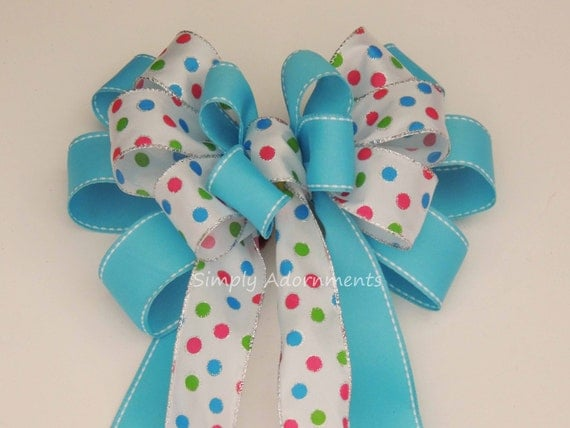 Turquoise Easter Dots Wreath Bow Spring Wreath Bow Blue Turquoise Polka Dots Birthday party decor Easter Basket Gift Bow Baby Shower Decor