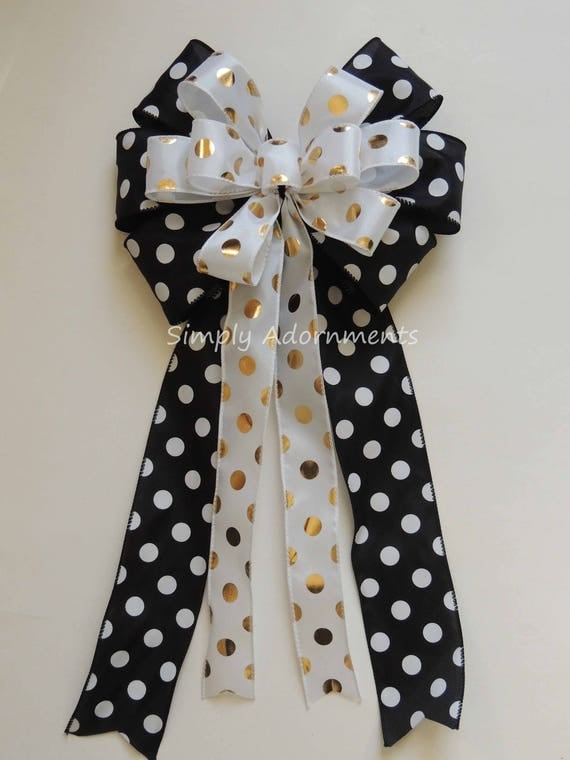 Black Gold Chrismtas Decor Black Gold Christmas Wreath bow Black Gold Polka dots Bow Black Gold Holiday party Decor Polka Dots Gift wrap Bow
