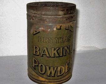 Vintage Davis Baking Powder Tin Hoboken, N.J. - Rare Paper Label Screw On Lid Davis Baking Powder Tin