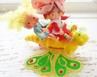 Vintage 1981 Strawberry Shortcake Butterfly, Flitter-Bit, Toy, Strawberryland, Strawberry Shortcake Ride On Toy, Collectible Toy, Yellow
