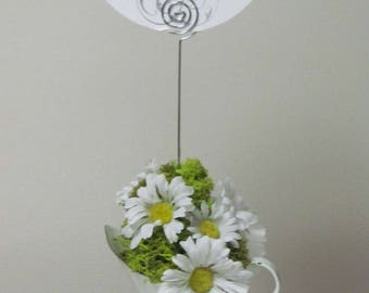 Wedding Table Number Holder, He Loves Me She Loves Me, Shabby Chic Decor, Wedding Number Holders, Daisy Floral Arrangement Number Holder,