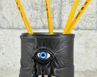 Pencil Cup Desk Accessory With Monster Face Dice Cup Black Leather LARP RPG Harry Potter MTG