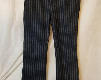 Vintage 90s Moto Blues Indie Grunge Alternative Gothic Groovy Dark Black Pinstriped Boot Cut Women's Trousers S M Small Medium Pants