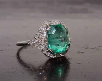 Vintage Engagement Ring, Art Deco Emerald 3.10ct and Diamond Ring Platinum, Sweden c. 1930, Antique Engagement Ring, Emerald Engagement Ring