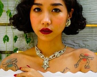 Vintage Rhinestone Jewelry Set/ Vintage Demi Parure/ Rhinestone Jewelry/ Vintage Jewelry/ Costume Jewelry/ 50s Jewelry/ Bridal Jewelry/