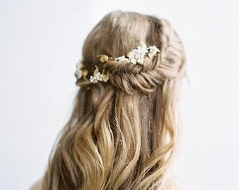 Wedding Hair Vine, Gold Flower Vine Headpiece, Brass Bridal Headpiece with Enamel Flowers, Wedding Hair Accessories, Bridal Headband #306HP